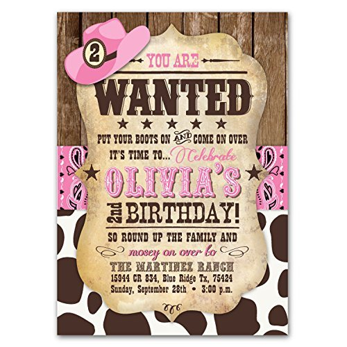 Amazon customizable cowgirl pink bandana and cowprint birthday customizable cowgirl pink bandana and cowprint birthday party invitations filmwisefo