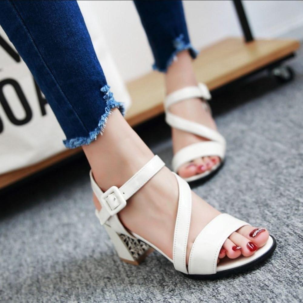 RAZAMAZA Women Fashion Slingback Ankle Strap Sandals Block Heel Shoes