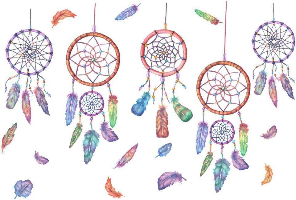 SMTD Carillons /Éoliens Plume Romantique Chambre Chaleureuse Sticker Mural Salon Autocollants de D/écoration Chambre Enfants Stickers Muraux 6638