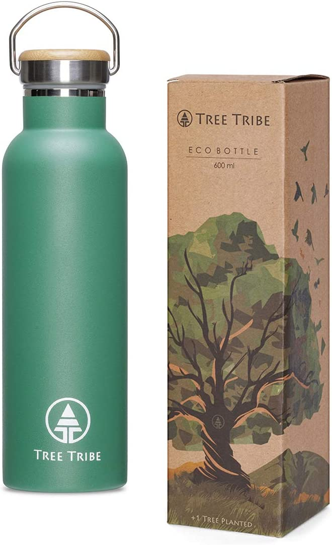 Eco Friendly Leak Proof 20oz Vacuum Insulated Water Bottle Keeps Water Cold All Day BPA Free Tree Tribe Stainless Steel Water Bottle Double Wall Metal Reusable Water Bottle No Lead Wide Mouth