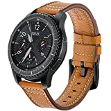 Gear S3 Bands, AiiKo 22mm Genuine Leather Watch Strap Replacement Band Buckle Bracelet with Quick Release Pin for Samsung Gear S3 Classic / Frontier Smart Watch Wrist Band (Brown)