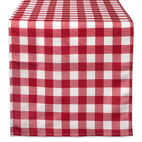 Red Square Platter - DII 100% Polyester Table Runner, Spilll Proof and Waterproof for Outdoor or Indoor Use, Machine Washable, (14x108) Red Check