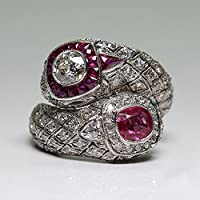 Antique Art Deco 925 Silver White Sapphire Ruby Gem Ring Women Wedding Jewelry (6)