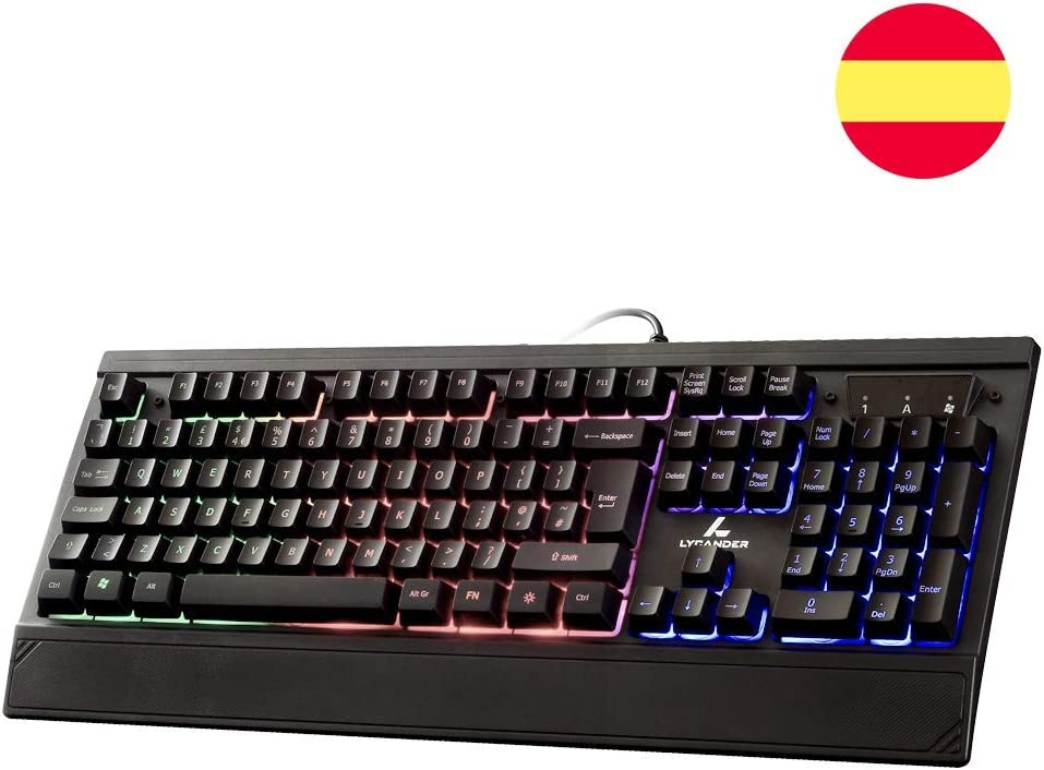 LYCANDER Gaming Keyboard Spain, Wired Keyboard - 19 anti-ghosting keys, 1.8m cable, rainbow backlight - LKB8154ES