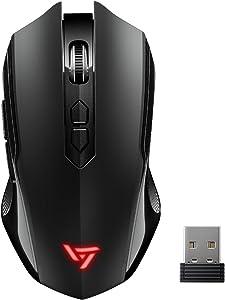VicTsing Wireless Gaming Mouse Unique Silent Click, Portable Silent Mouse 2.4GHz Dropout-Free Connection PC Windows 7/8/10/XP Vista Linux, Black