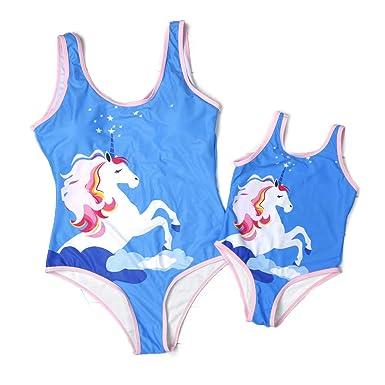 e0cc9e0b3fb93 PatPat Mommy and Me Matching One Piece Swimsuit Unicorn Monokini Beach Wear  for Women Girls Swimwear
