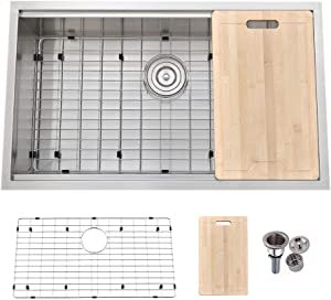 VALISY 32x19 Inch SUS304 Stainless Steel Commercial Drop In Workstation Deep Undermount Single Basin Kitchen sink, Kitchen Sinks Combo with Dish Drainer & Cutting Board & Basket Strainer & Bottom Grid