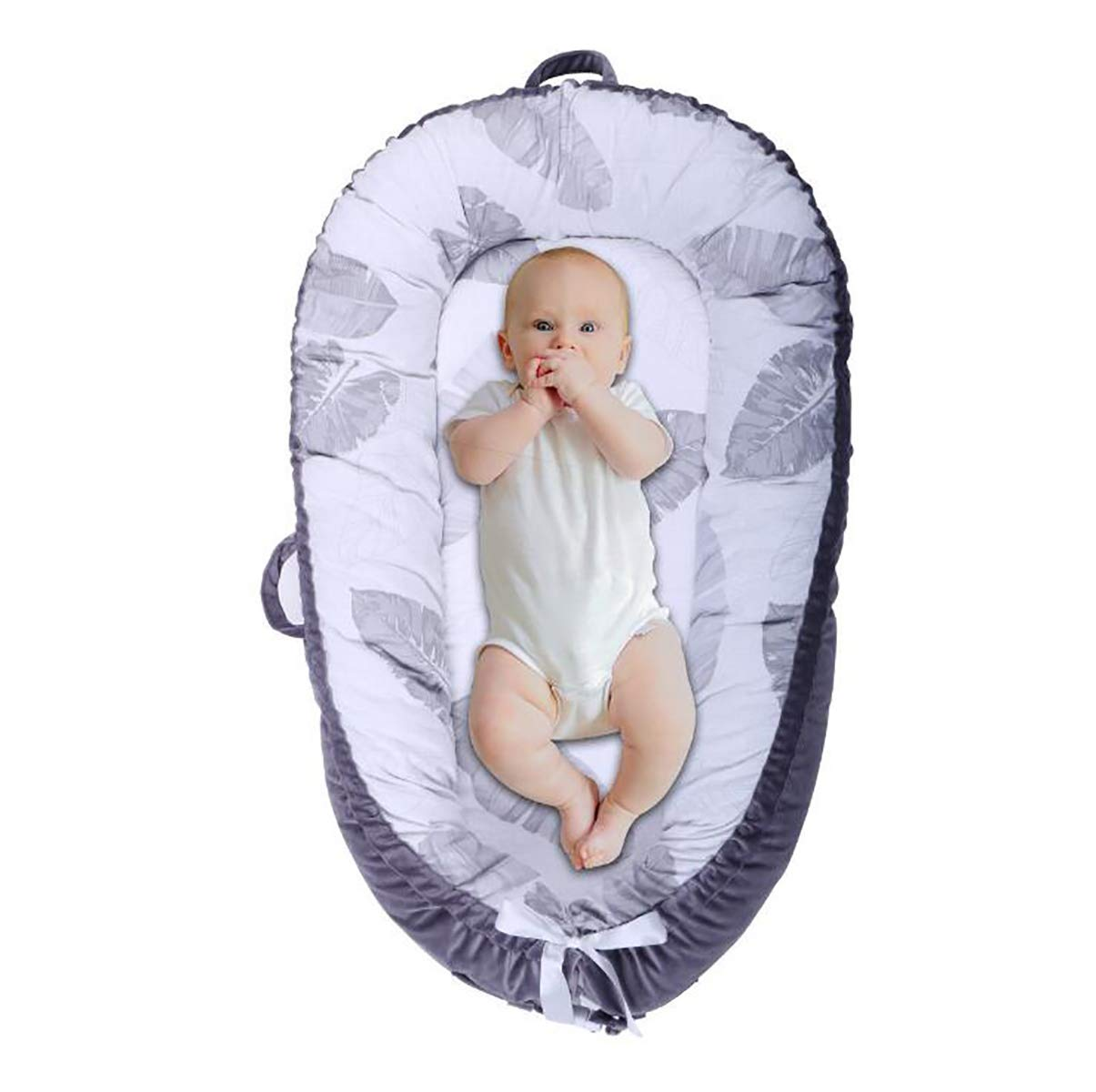HUANZI Baby Nest Nido bebé Reductor De Cuna Reversible CóModa Cama De Nido De Bebé Nido para Franela y algodón, AntialéRgico, 80 Cm X 50 Cm, 11, ...