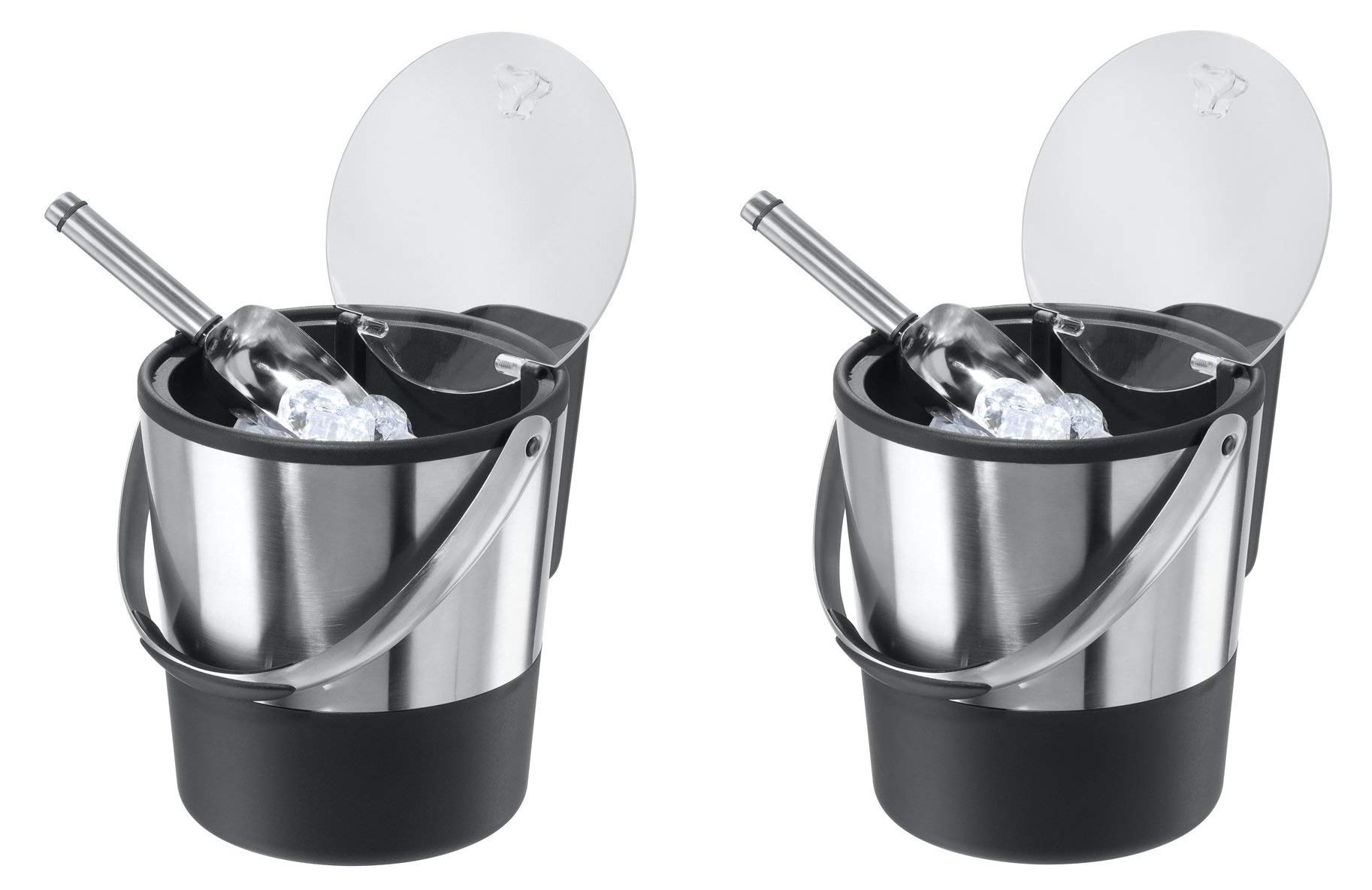 Oggi Double Wall Ice Bucket with Flip Lid and Stainless Ice Scoop (Pack of 2) by Oggi