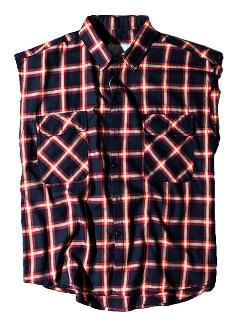Generic Mens Button Down Sleeveless Plaid Flannel Shirt Casual Checkered Top