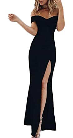c275547356b YMYY-Kleider Women Beachwear Party Cocktail Evening Maxi Dresses With Slit  Solid Color Bodycon Sexy Off Shoulder Bandeau Long Dress  Amazon.co.uk   Clothing