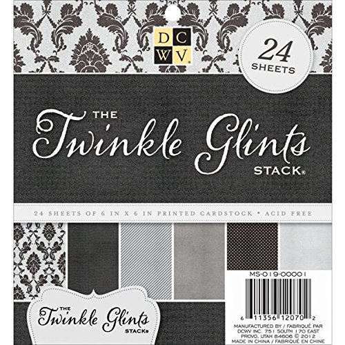 DCWV Printed Cardstock, Twinkle Glints, 24 Sheets, 6 x 6 inches (Cardstock Textured View)