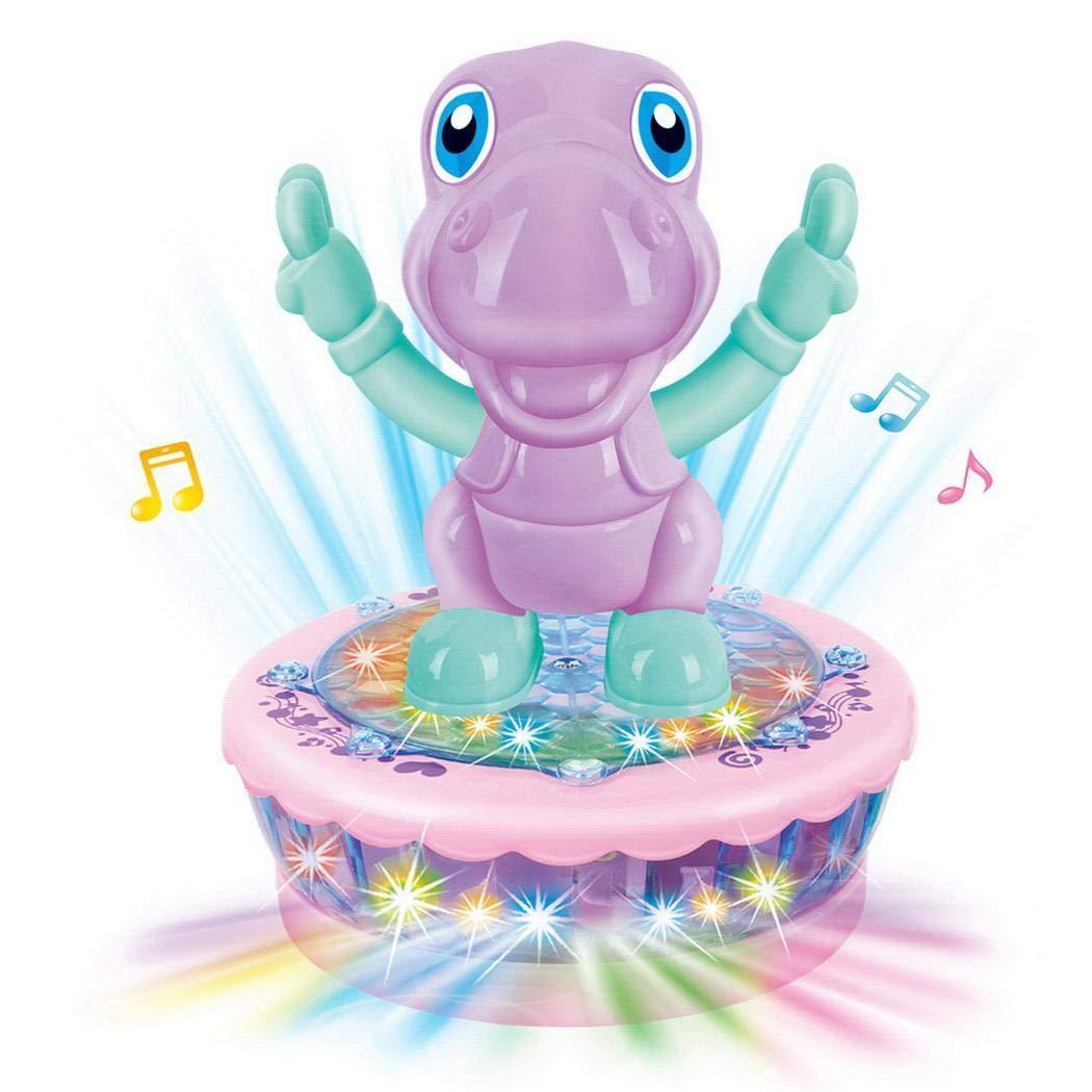 Qenci Multicolor Spinning Toy Cartoon Animals Flash Toys Light Music Kids Children Toy