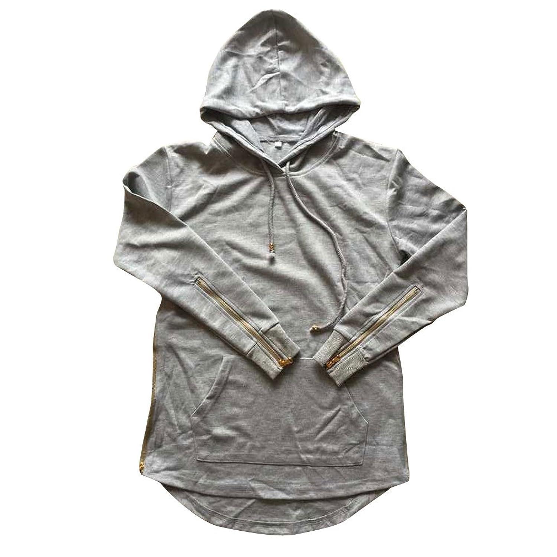 NEW Men/'s Hipster Long Line Hip Hop Zipper Hoodie Sweatshirts Jacket Pullover