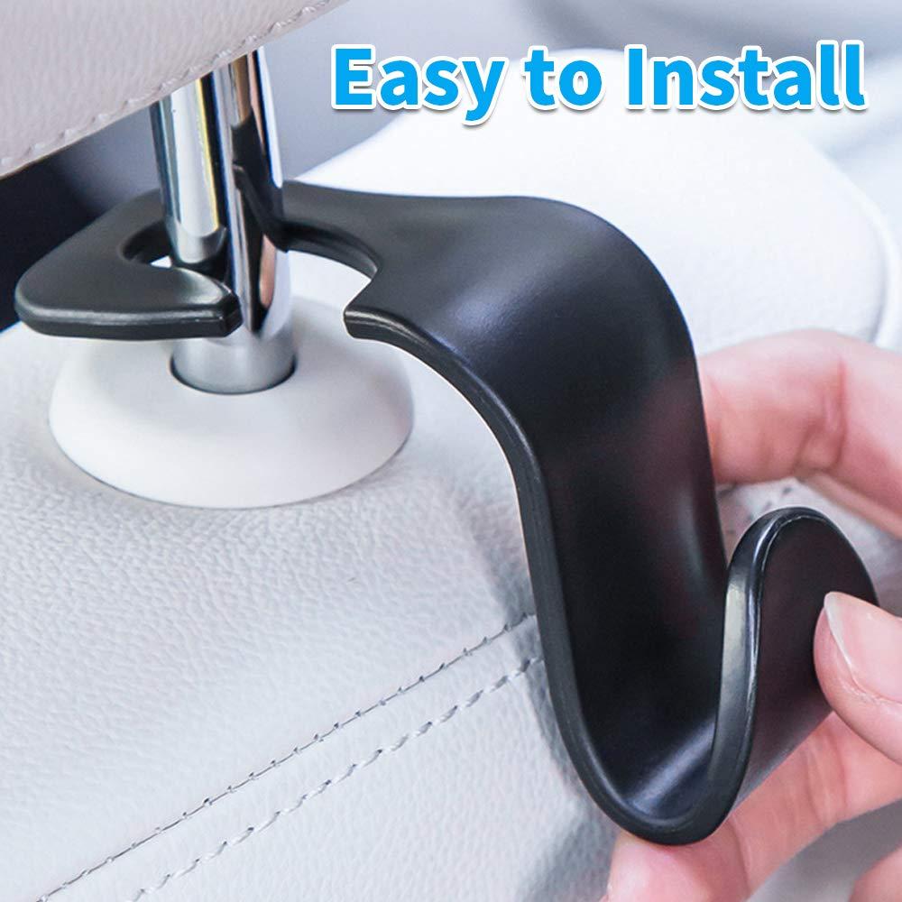 MUYI 4 Pack Car Vehicle Backseat Headrest Hook Hanger Storage for Purse Backpack Grocery Bags Handbag