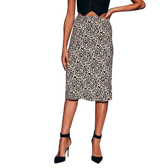 Cinnamou Mujer Leopardo de Alta Cintura Elástica Bodycon Midi Falda Sexy: Amazon.es: Ropa y accesorios