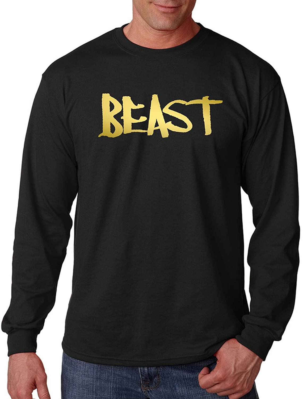 Reflective Gold Beast Men's Black Long Sleeve T-Shirt Black