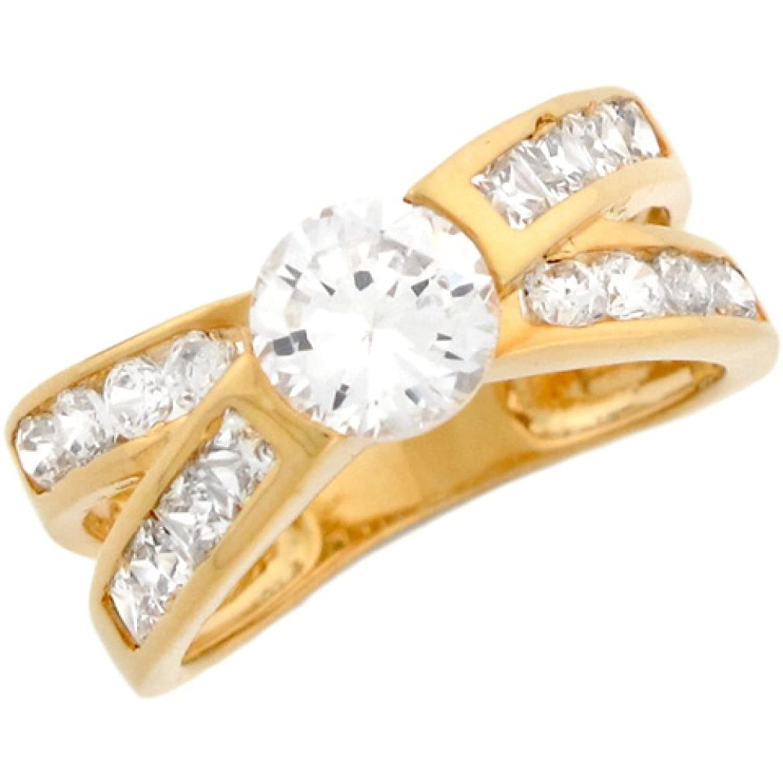 14k Solid Yellow Gold White 2ct CZ Anniversary Band Ladies Ring