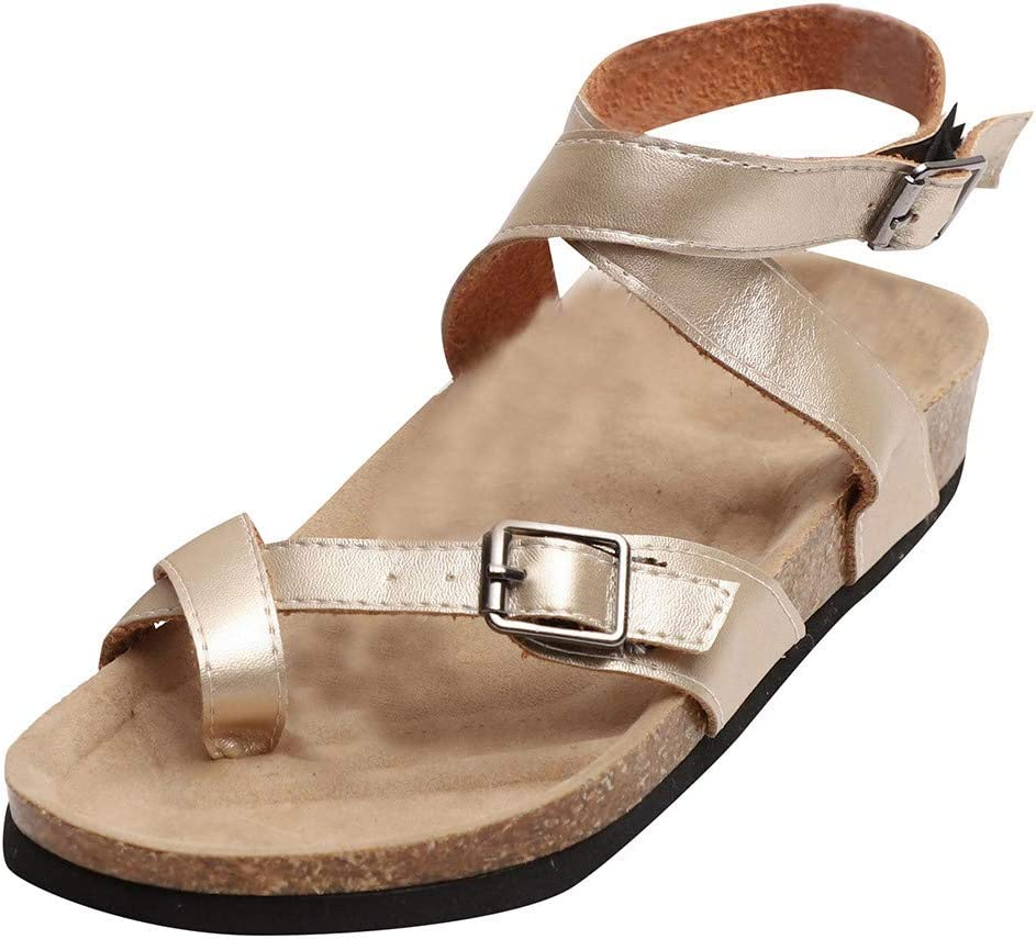 Cross Shoelace Metal Buckle Beach Sandals WILLTOO Womens Summer Flat Shoes