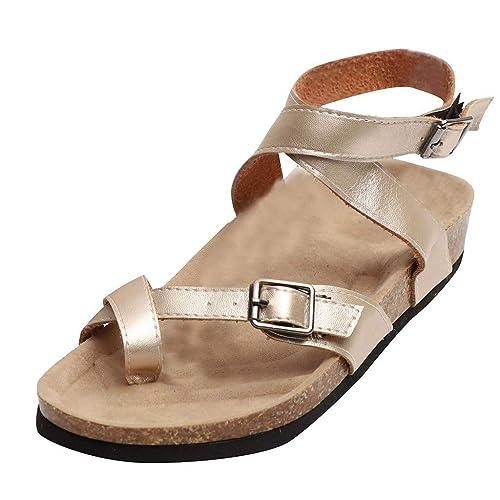 cdc772e2df1 Kadola Womens Gladiator Sandals Flip Flop Straps Summer T-Strap Thong Roman  Flat Shoes (