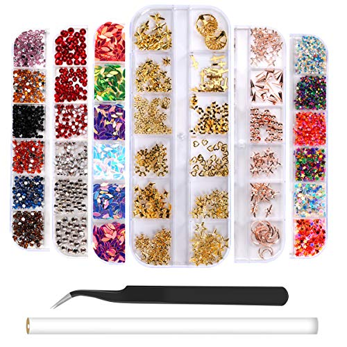 (6 Boxes Nail Art Rhinestones Rose Gold Nail Rivets Studs, Charms Nail Sequins, 3D Nail Gems Decoration Kit, Multicolor Acrylic Crystals with Curved Tweezer, Pencil Picker)