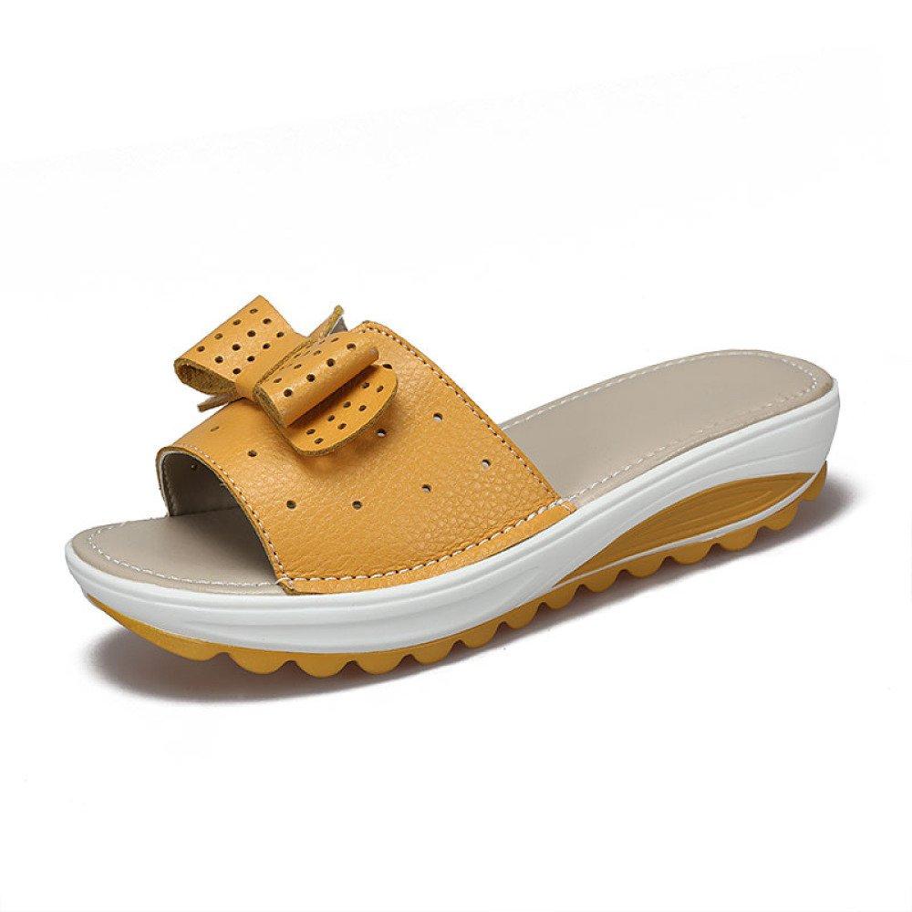 BFMEI Casual Damen Sandalen Wedges Flower Sandalen \u0026 Hausschuhe Plattformen Muffins \u0026 Schuhe  35 EU|Yellow