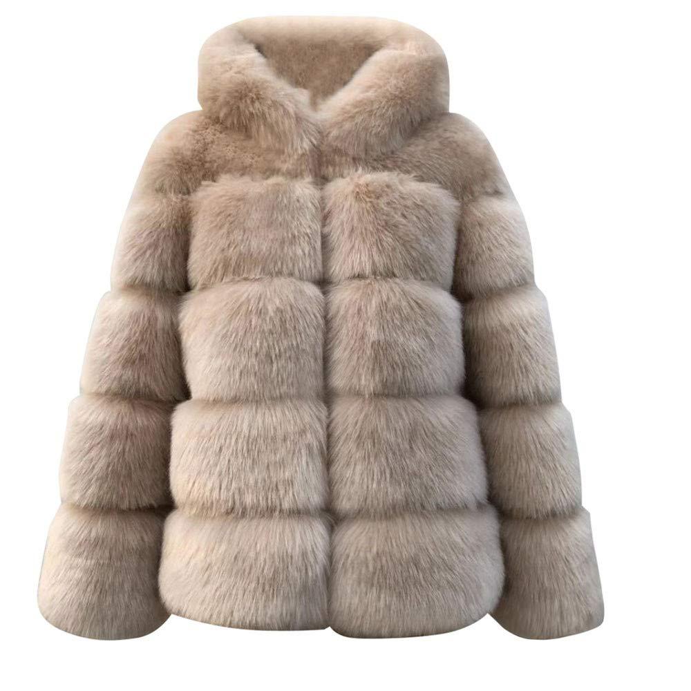 Amazon.com: Hunzed women coat Warm Faux Fur Short Comfortable Coat Autumn and Winter Hooded Jacket (X-Large, Khaki): Home Improvement