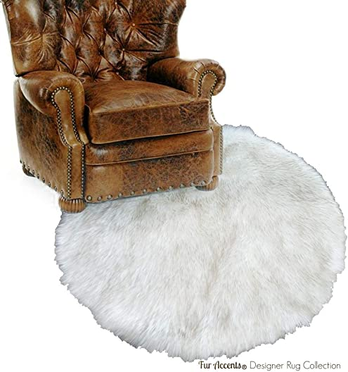Fur Accents Classic Round Sheepskin Rug Shaggy Off White Faux Fur 5 Ft Diameter