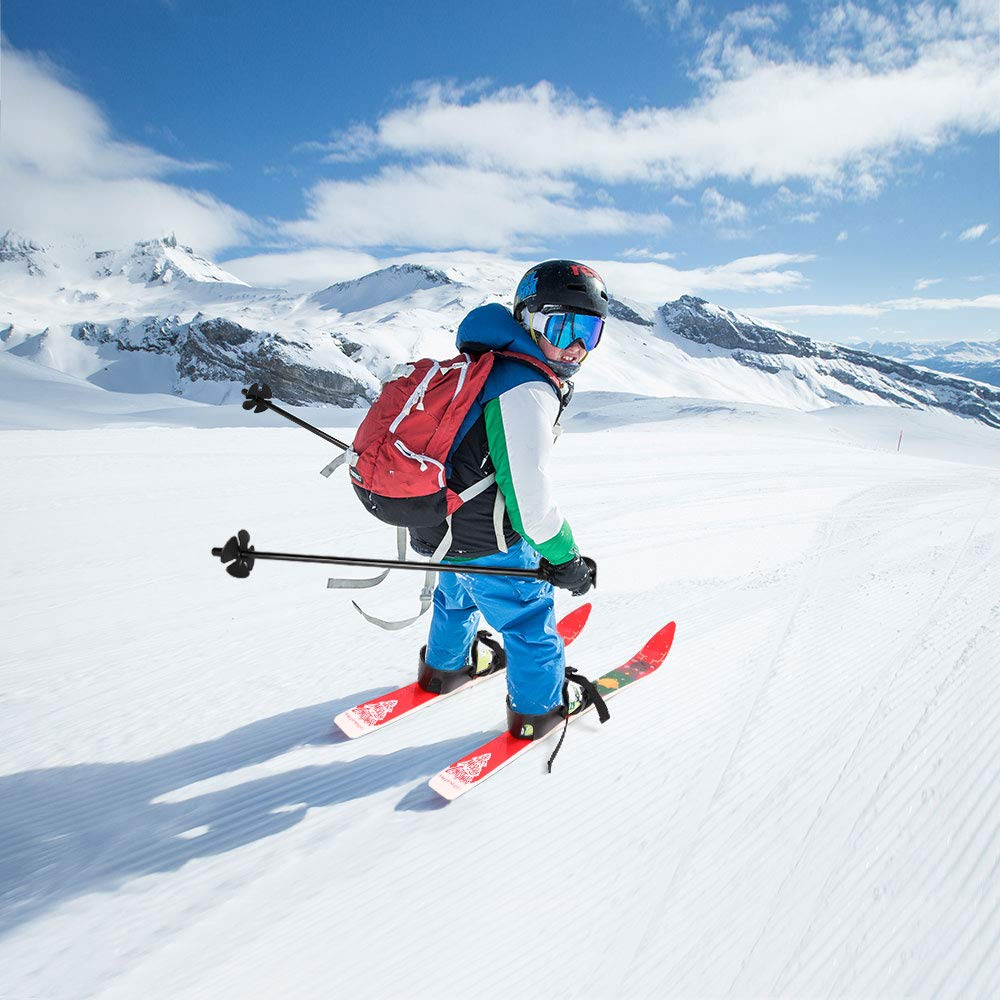 Blue and Red Odoland Kids Beginner Snow Skis and Poles Low-Resistant Ski Boards for Age 4 and Under Children