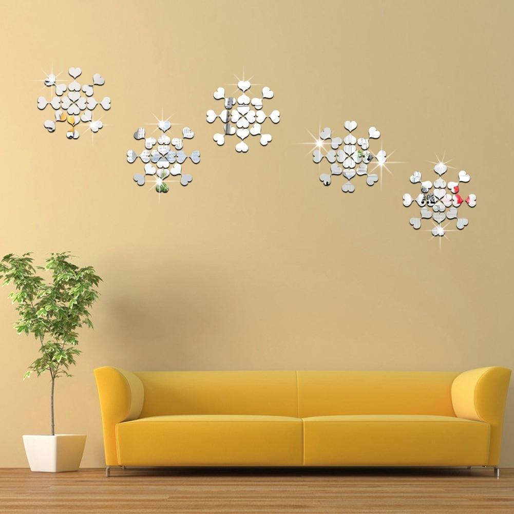 mikolotuk Autocollant Mural Chambre 100pcs 3D mosa/ïque Coeur en Plastique miroirs en Plastique Salon d/écor Argent