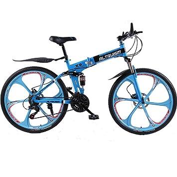 d9a48afb79e Altruism X9 Mountain Bikes Steel bicycle Double Disc Brake Bike Folding  bicycles (blue
