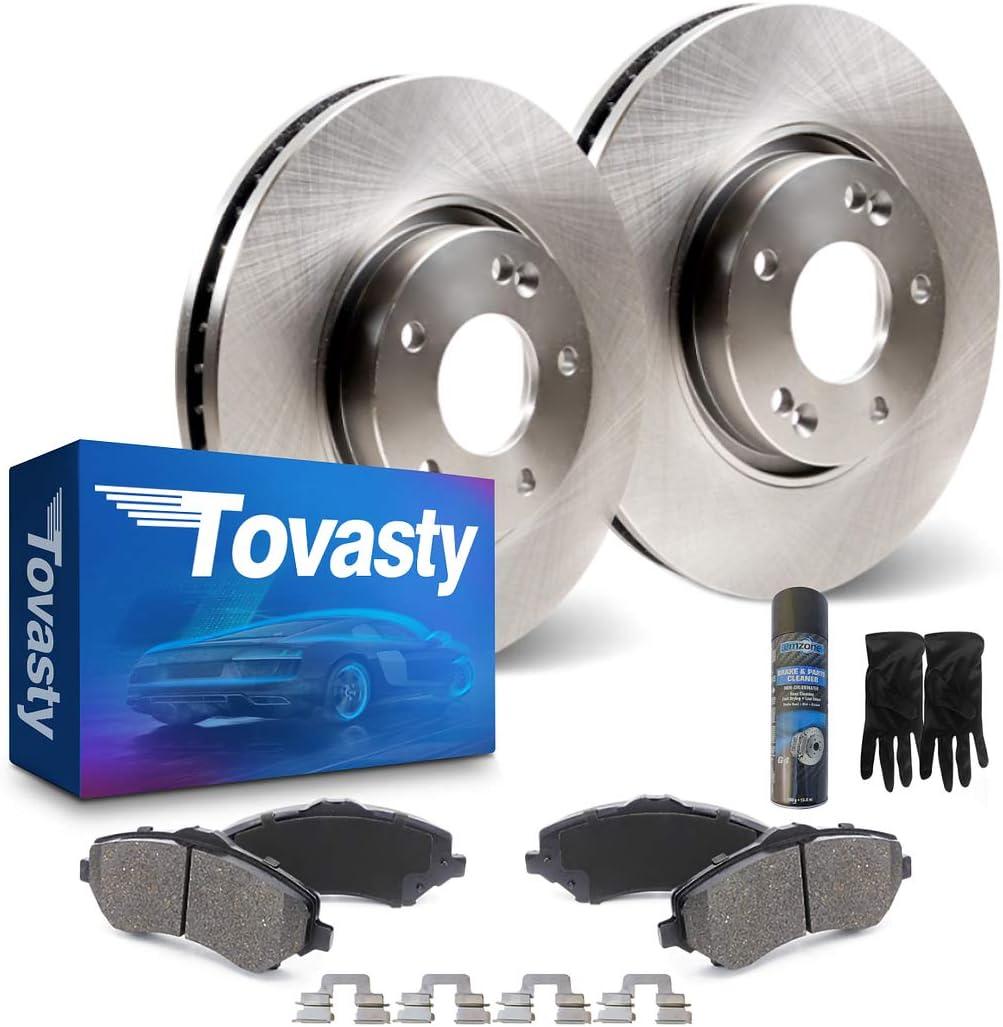 Tovasty Rear Brake Kit /& Hardware Clips /& Brake Cleaner /& Gloves for 13 2013 14 2014 15 2015 Mercedes-Benz GLK 250 BK45022040102 Premium Disc Brake Rotors /& Ceramic Pads