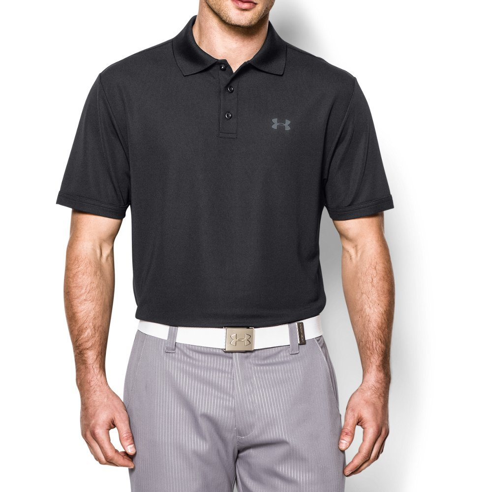 Under Armour Men's Performance Polo, Black (001)/Steel, Large