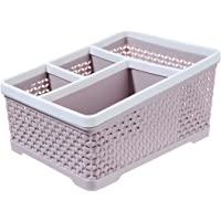 Saim Cosmetic Storage Basket Mesh Pencil Holder Desk Drawer Organizer and Storage for Office, Home, Classroom, Bedroom, Bathroom, Kitchen Supplies, 5 Compartments, Gray