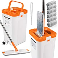 Flat Squeeze Mop and Bucket Set with 3PCS Microfiber Pads for Floor Cleaning Self Wring Mop and Bucket System Separate…