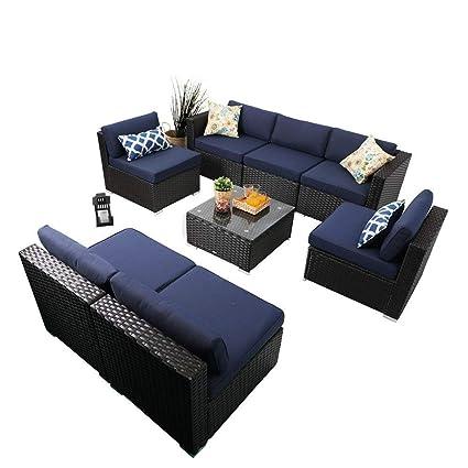 Cool Phi Villa 8 Piece Outdoor Sectional Furniture Rattan Conversation Sofa Patio Rattan Sofa Set With Wicker Blue Customarchery Wood Chair Design Ideas Customarcherynet