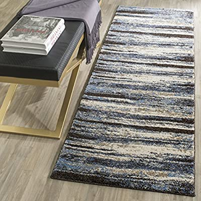 Safavieh Retro Collection RET2138-1165 Modern Abstract Cream and Blue Runner (2'3″ x 7′)