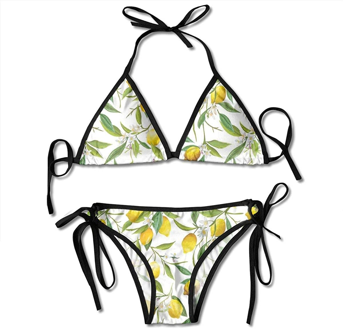 Women's Bikini Set,Hand Drawn Style Poinsettia Flowers Romantic Vintage Botanical Nature,Two Pieces Swimsuit