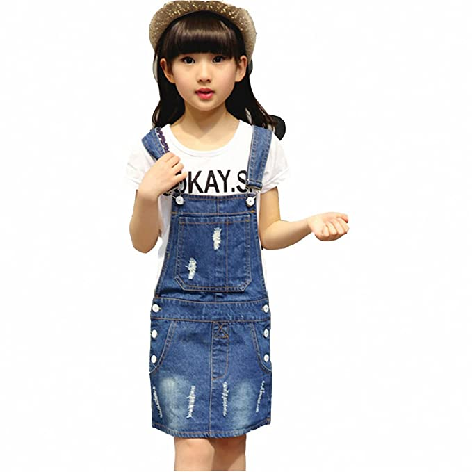 7d9c8836e446 Image Unavailable. Image not available for. Color  Kidscool Girls Ripped Big  Bibs Denim Overalls Dress