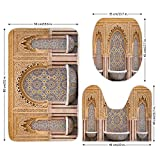 3 Piece Bathroom Mat Set,Moroccan Decor,Typical Moroccan Tiled Fountain in the City of Rabat Near the Hassan Tower,,Bath Mat,Bathroom Carpet Rug,Non-Slip