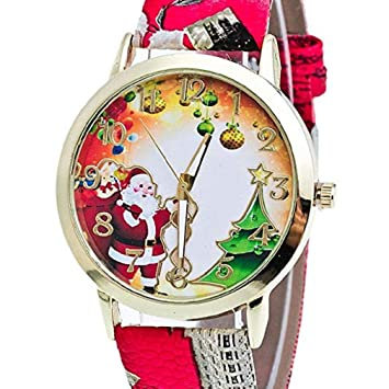 Big Windoson Women Christmas Elderly and Tree Pattern New Analog Ladies Wrist Watches Girl Watches Leather