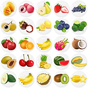 HSJH Refrigerator Magnets 24pack Colorful Beautiful Fruits Emoji Fridge stickers Funny for Office Cabinets Whiteboards Decorative Photo Kids And Adults Gift (24 Fruits)