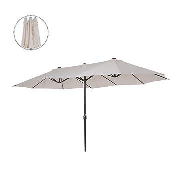 c3d48faf Outsunny Sombrilla Parasol Doble para Jardín Terraza Playa Piscina Patio  con Manivela Manual Acero y Tela Poliéster Impermeable Protección Solar UV  ...