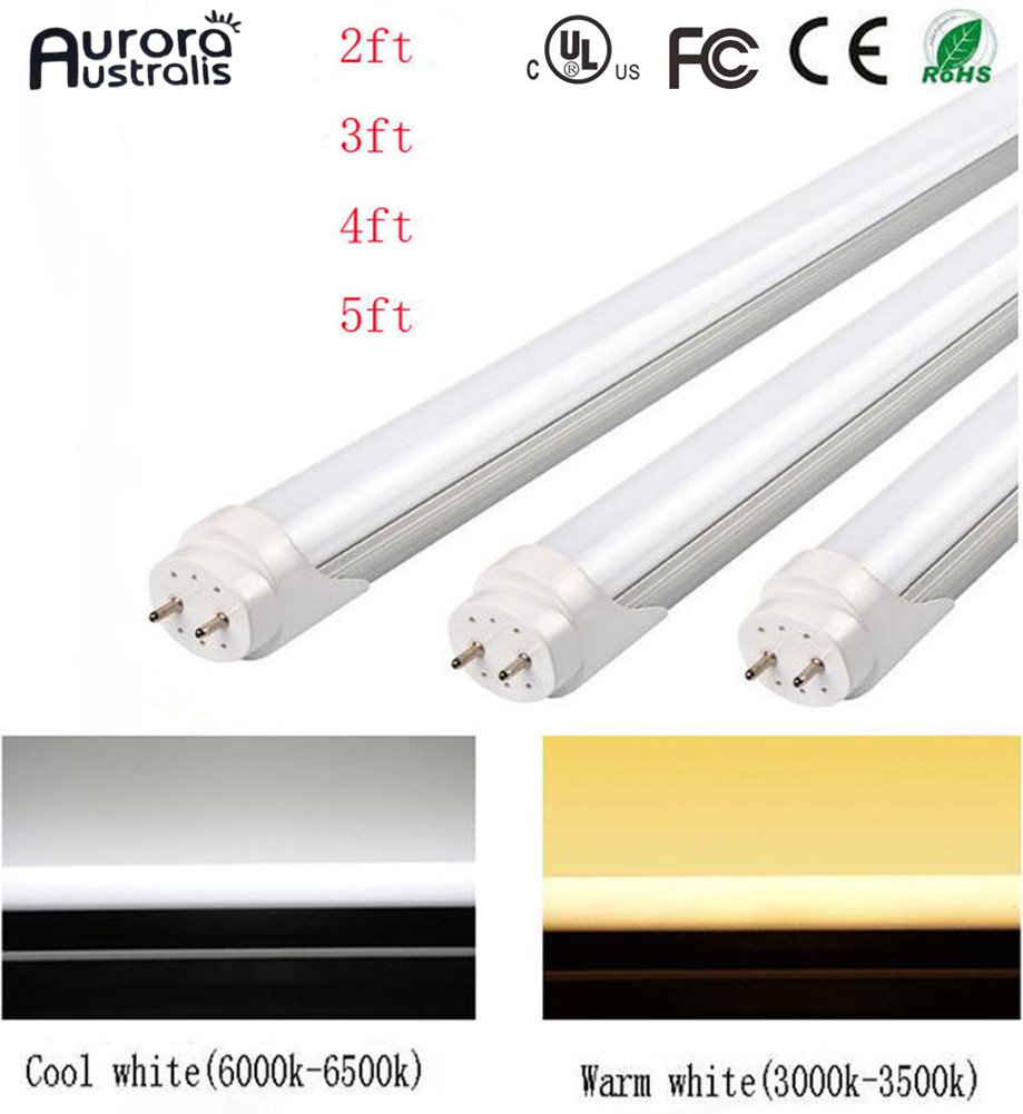 Easy-Installing & Eco-Friendly T8 LED Tube Light - 2FT 24'' 10W (18W Equivalent), Double-End Powered, Milky Cover, Works from 85-265VAC Fluorescent Replacement Lamp (1, Cool White 6000K-6500K) by Aurora Australis (Image #1)