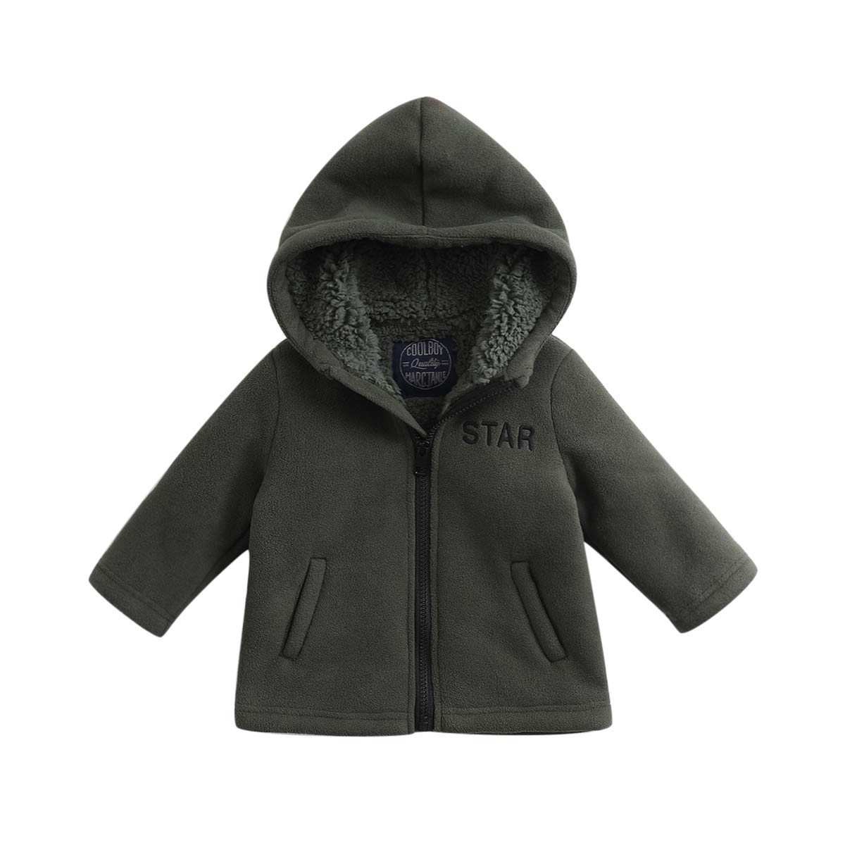 marc janie Little Boys' Winter Hoodie Jacket Thicken Fleece Artificial Lamb Fur Coat 70163