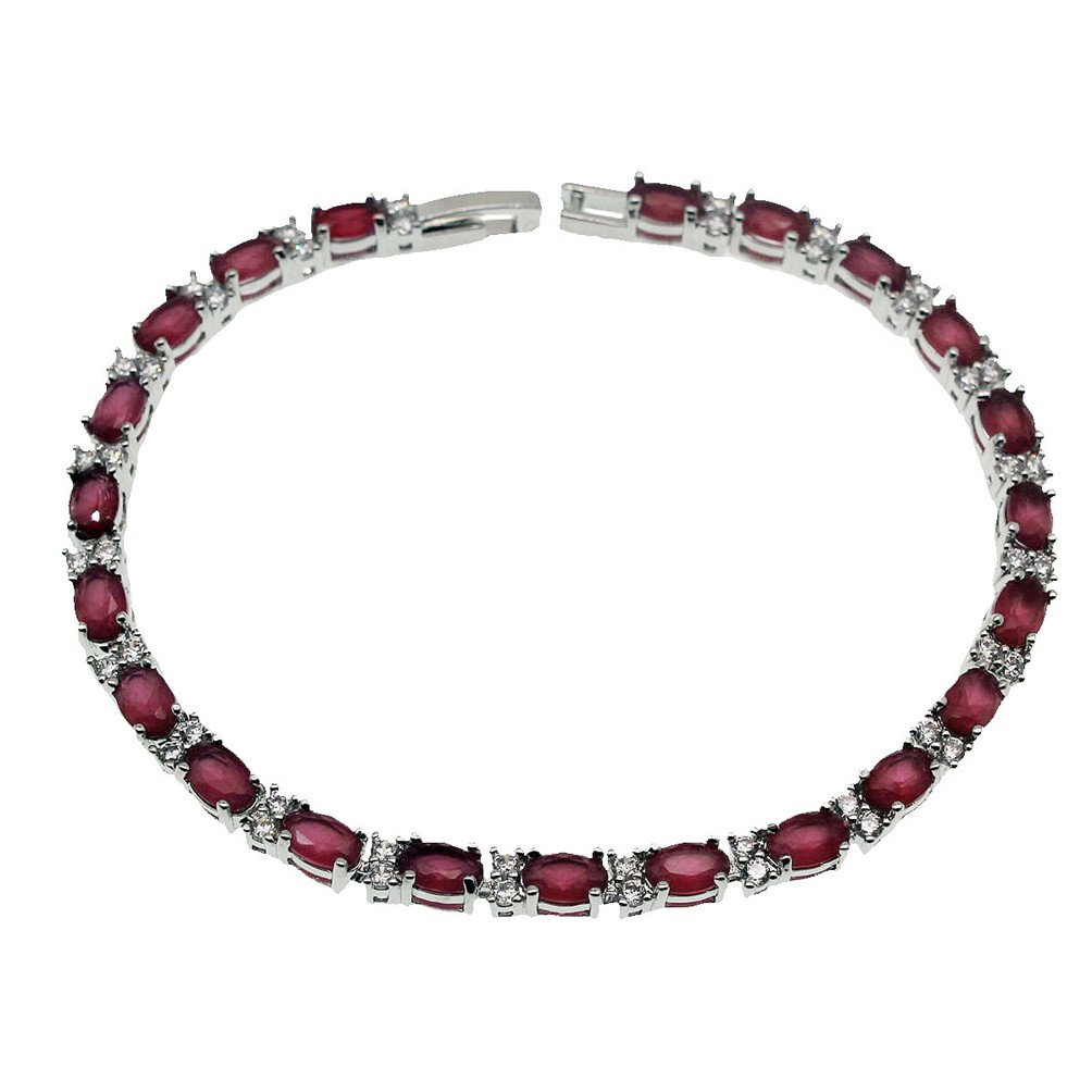 Vanessa Classic Tennis Bracelets for Women 7'' 8'', Sparkling Oval Gemstone Clasp Chain Bracelet Gifts (8inch Ruby)