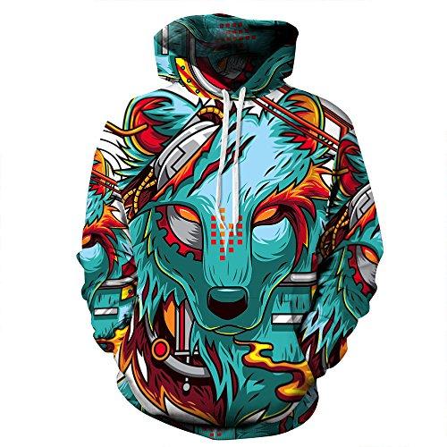 NEWCOSPLAY Unisex Harajuku Realistic 3D Digital Print Pullover Hoodie Hooded Sweatshirt(XXL,Wolf) (Wolf Adult Sweatshirt)