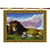Manual Inspirational Collection 26 X 36-Inch Wall Hanging and Finial Rod, Lion and Lamb with Verse