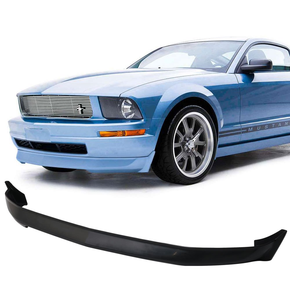 Front bumper lip fits 2005 2009 ford mustang v6 3c style black pu front lip finisher under chin spoiler add on by ikon motorsports 2006 2007 2008