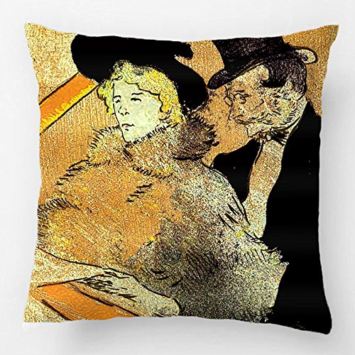 ALEX Throw Pillow Case Decorative Cushion Cover Cotton Polyester Sofa Chair Seat Square Pillowcase Design With Toulouse-Lautrec At The Concert Custom Personalized Pillow Cover Sized 20X20 (Halloween Concert Dallas)